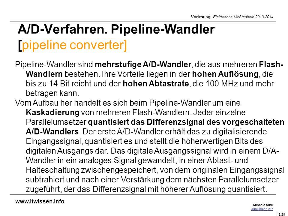 A/D-Verfahren. Pipeline-Wandler [pipeline converter]